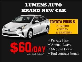 Toyota PRIUS S - CAR RENTAL FOR GRAB / PRIVATE HIRE