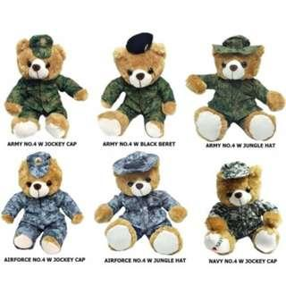 SAF Army Bear in No.4 Uniforms for Army, Navy and Airforce