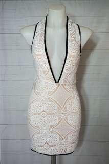 White Bodycon Plunge Dress