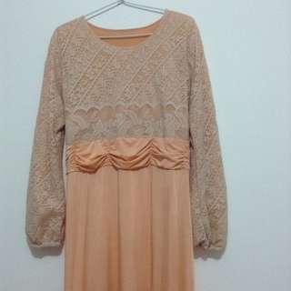 Dress Muslim Lace Brokat Pesta Peach Gold Orange set