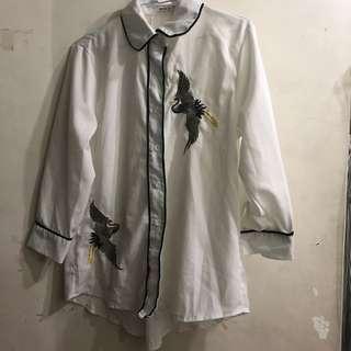 🚚 仙鶴刺繡白襯衫
