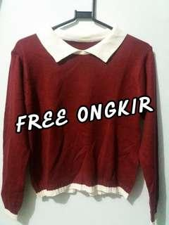 Maroon Crop Sweater