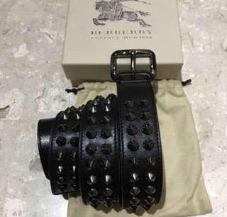Authentic BN Burberry Men Black Leather Studded Belt