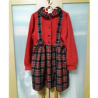 Red Thick Cotton Checked Frilled Dress for Little Girl