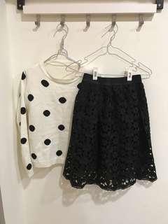 🚚 織花洞洞黑裙
