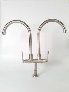 Stainless Steel Dual Spout Kitchen Tap