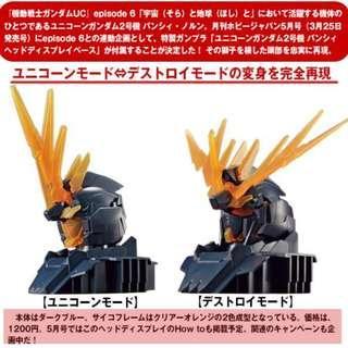 請看推廣優惠 原裝日本正版 HOBBY JAPAN 附錄 全新未砌 1/48 報喪女妖 頭像胸像 支架地台 BANSHEE RX-0 Unicorn 02 Head Display Base Gundam 高達模型 2