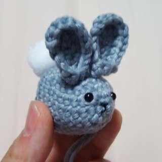 Rabbit/Bunny Crochet Amigurumi with metal ball chain