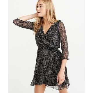 A&F CHIFFON WRAP-FRONT DRESS, Black Pattern, XS