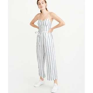 A&F BELTED BUTTON-FRONT JUMPSUIT, White Stripe, S