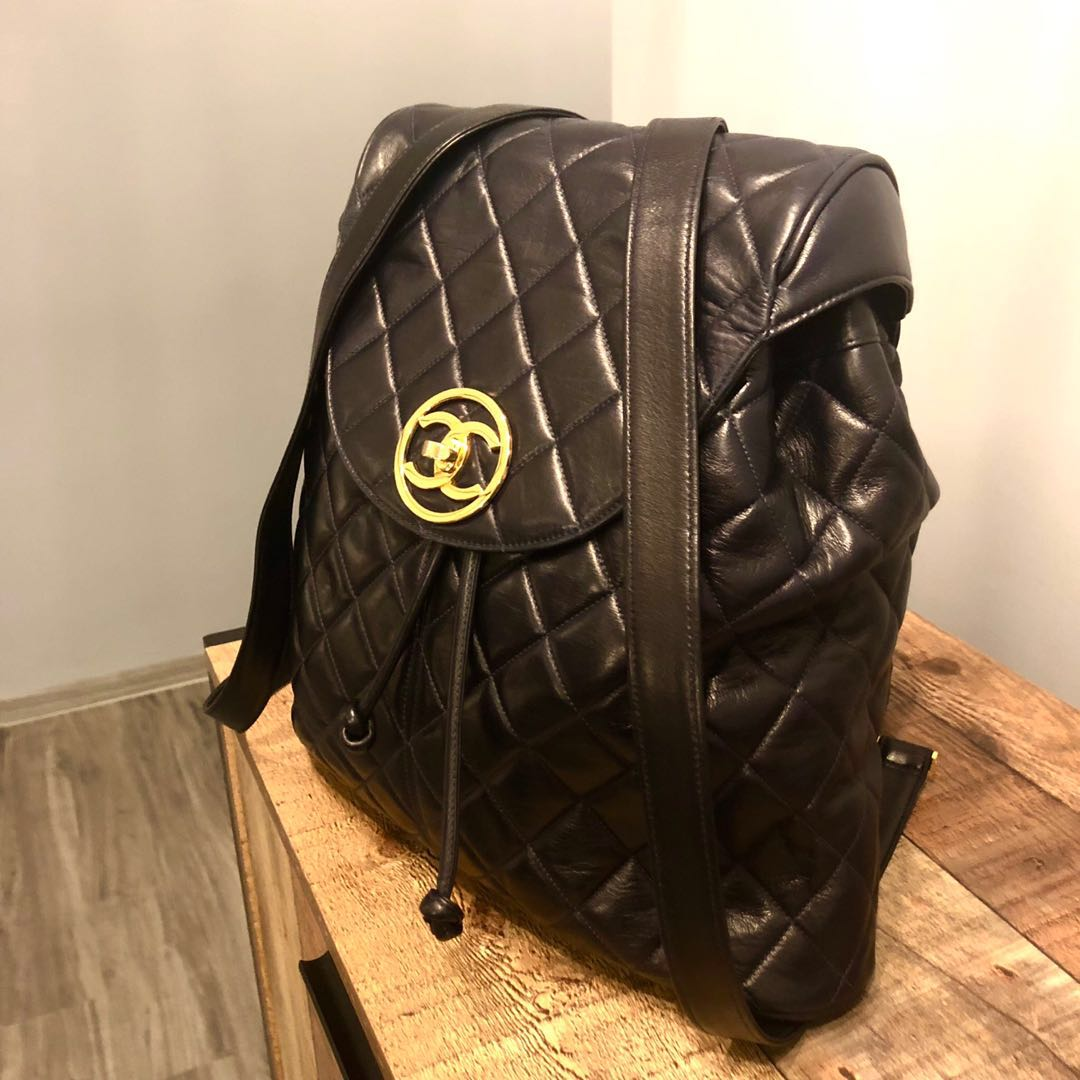 0452bc4b16aa Authentic Chanel luxurious Large Lambskin Backpack w 24k Gold ...