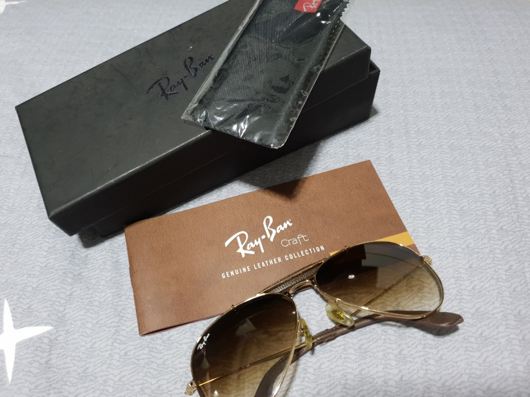 59a66bfe28 Authentic Ray-Ban Aviator Leather Collection