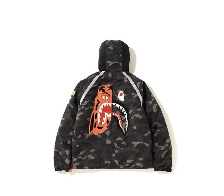 a716dc36959b Bape color camo tiger shark padded hoodie jacket