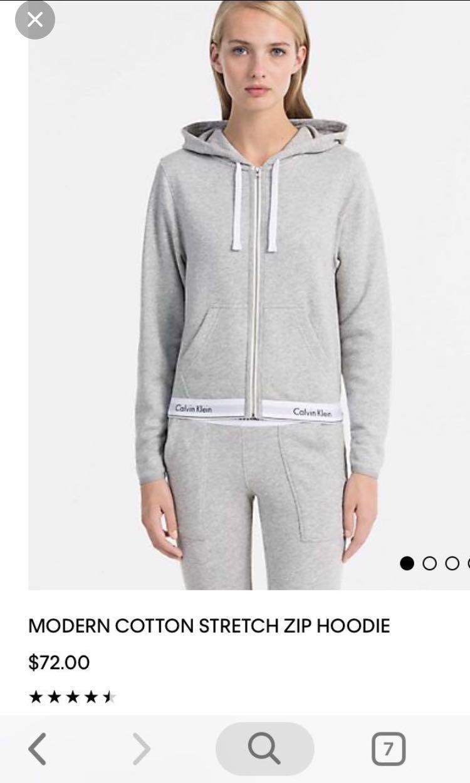 Calvin Klein zip up hoodie sweater grey