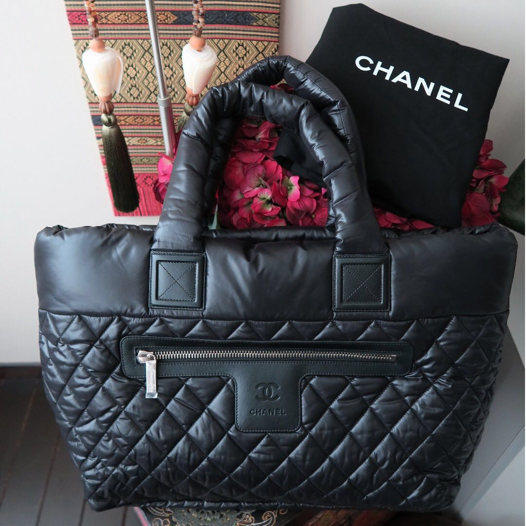 b27c84f63147 Chanel Cocoon Nylon Large Quilted Coco Black Tote Bag