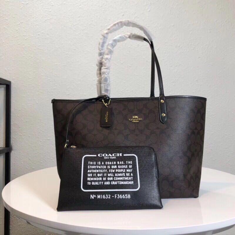 da61952d5634 Coach 2 side use revised tote bag large size black + dark Brown ...