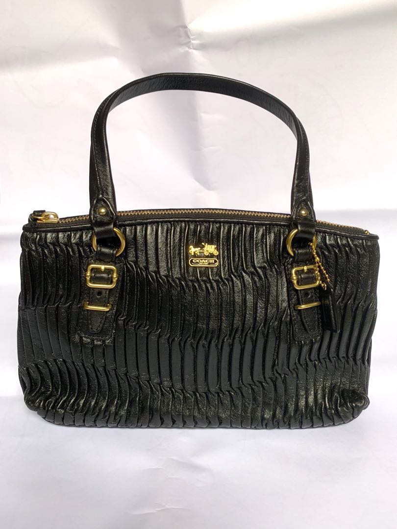 c735f1da8fe0 Coach madison gathered leather small hand bag black luxury bags jpg  810x1080 Coach black leather gathered