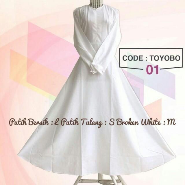 Gamis Katun Toyobo Putih Bersih Fesyen Wanita Muslim Fashion Gaun Di Carousell