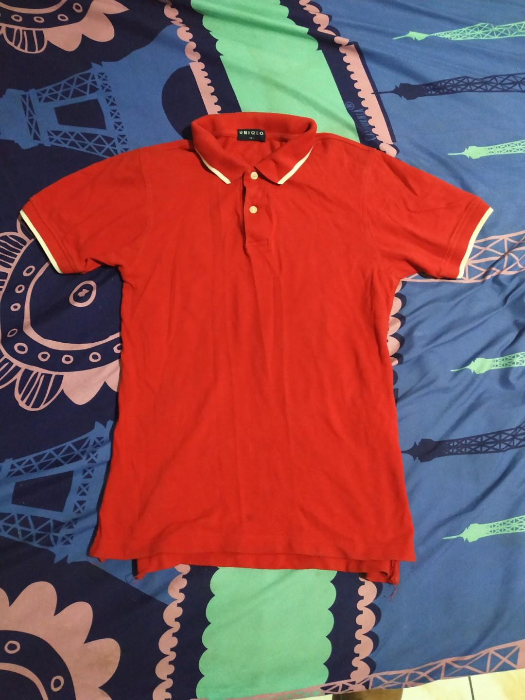 kaos polo shirt uniqlo original red chilli stripe white slim