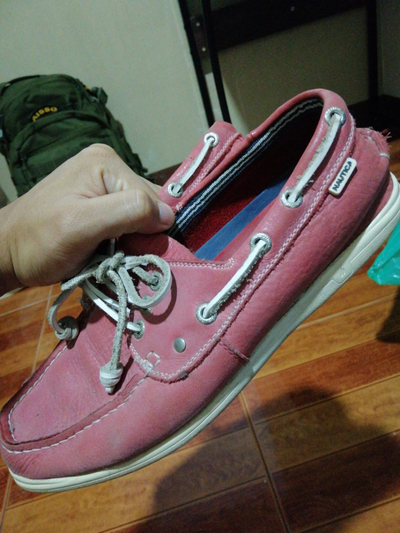 dfb52a90e5 Nautica Leather Boat Shoes - Red    Authentic