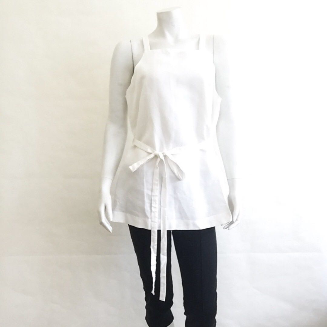 88449a507eb715 NWOT BANANA REPUBLIC Cream White Women's Linen Apron Wrap Top M ...