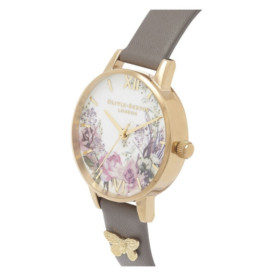 27a8a03e6829 Olivia Burton OB16EG109 Enchanted Garden London Grey and Gold Ladies Watch
