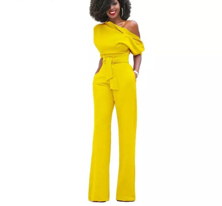 6a88f2fdbf3 (PO) S-XXL New Fashion Off the Shoulder Elegant Jumpsuits Women Plus Size  Rompers Womens