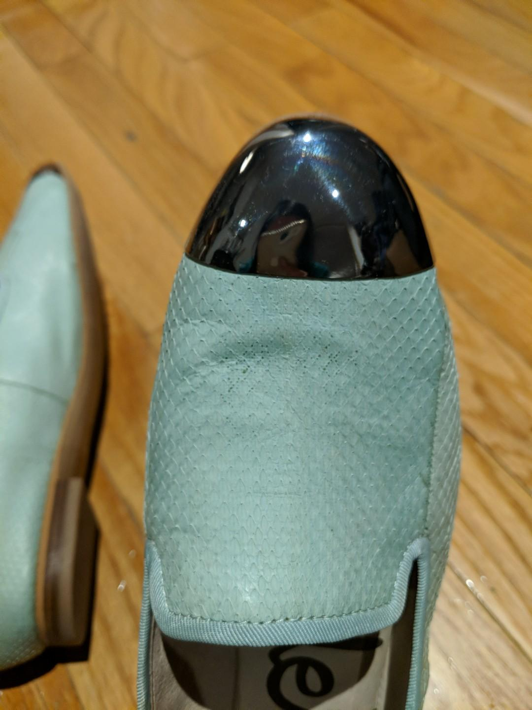 Sam Edelman - Size 8.5 - Used Leather Mint Green Loafers with Metal Cap Toe