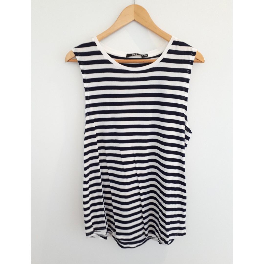 Sportsgirl Boyfriend Tank. Blue and White Stripe, Size S, NWT.