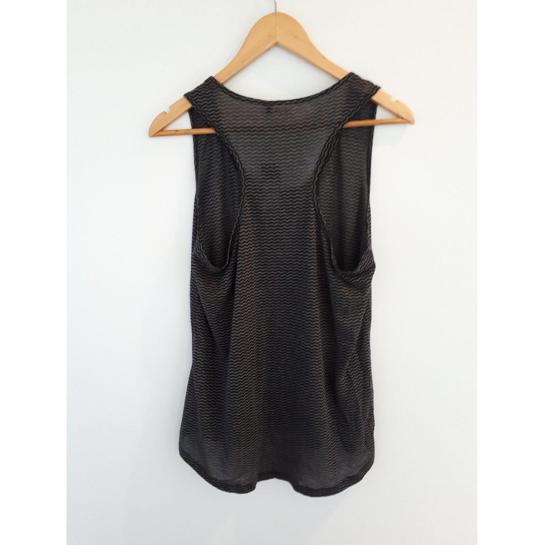 Target Burnout Tank Top. Black and Grey Print, Size 16.