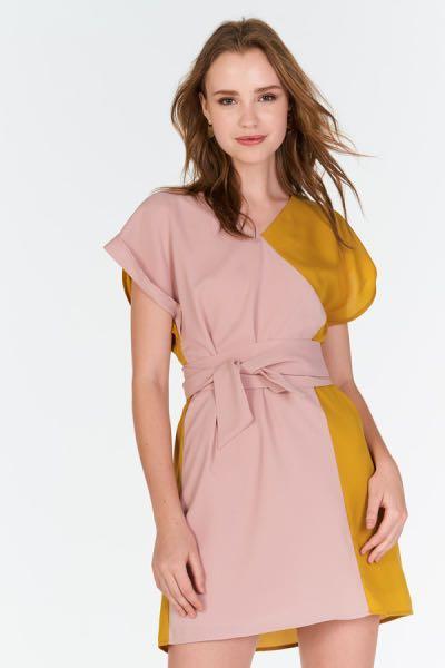 e5e98f71bc6 TCL Tristane Obi Sash Dress (Mustard Pink)