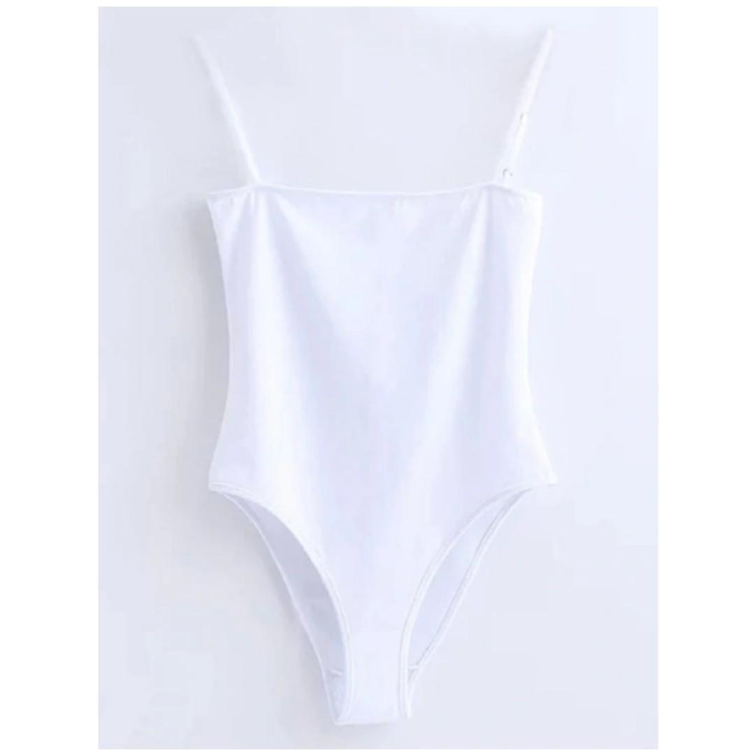 White Straight Cut Bodysuit