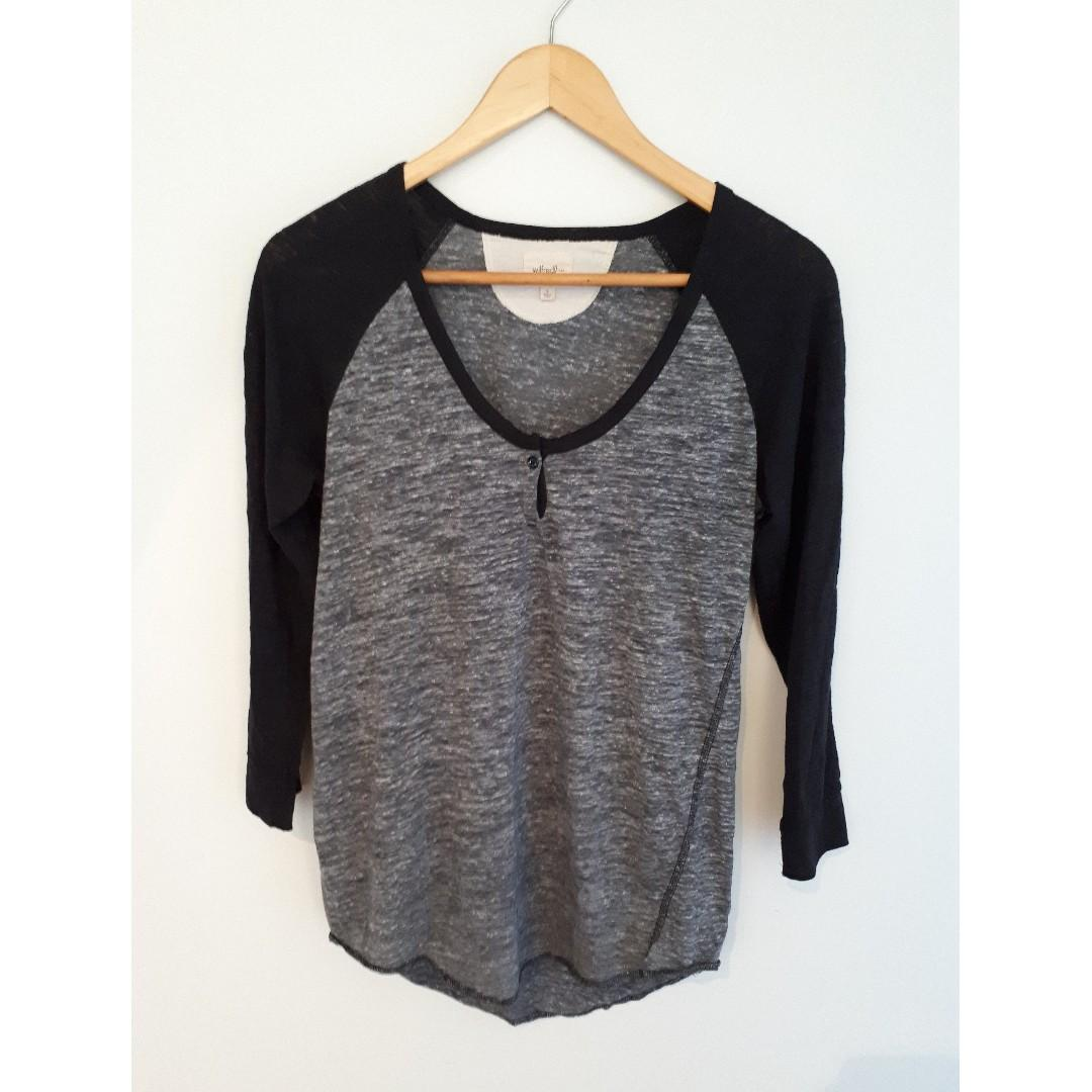 Wilfred Free Henley 3/4 Sleeve T-Shirt, Grey Marle with Black Sleeves, Selling Two Size Small's