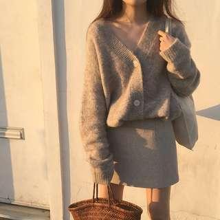 ☻ ʟɪᴢᴅᴀsʜᴏᴘ 🛒韓國chic復古慵懶風寬鬆百搭馬海毛軟糯V領毛衣開衫