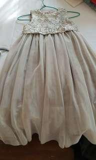Girls' sequined and tulle dress in grey