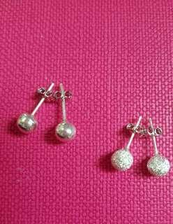 2 pairs of Sterling Silver 925 🍃 6.3mm🍃 Ball Earrings 純銀925耳環