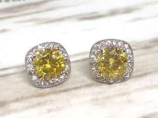 Yellow CZ Halo Earrings in Silver 925