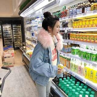 Korea Winter Pink Fluffy Faux Fur Hooded Denim Jacket