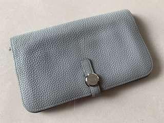 Hermes 8U Bleu Glacier Dogon Duo Wallet