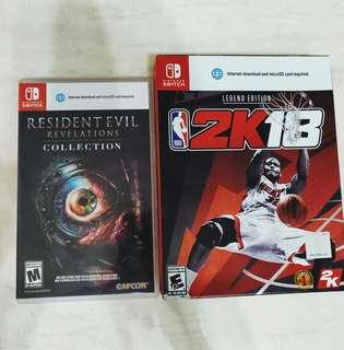 Resident evil revelation 1 and 2 and NBA 2K18 NBA2K18 legend edition