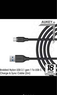 Aukey cable 2M USB 3.0 to USB C braided black