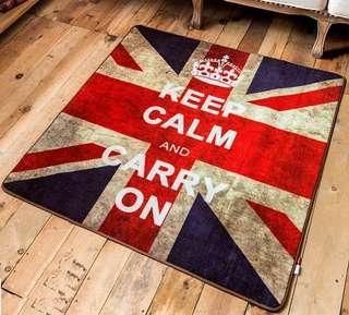 全新 方型 時尚 潮流 英倫風米字旗 英國旗 客廳 臥室 玄關位 地毯 * 80x80有一張現貨