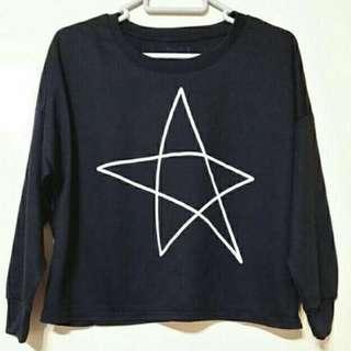黑色星星圖案短身長袖衫