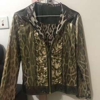 金色豹紋長袖薄身褸外套