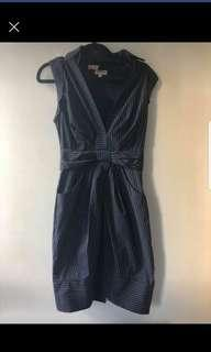 Karen Millen pinstripe dress with bow detail new without tags