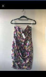 Zimmermann multi coloured strapless pure silk dress new with tags
