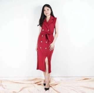 Dress Vest Midi Button Slit Premium Red