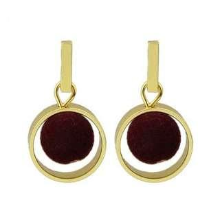 Circular Ring Hairball Pendant Fashion Earrings - RED WINE