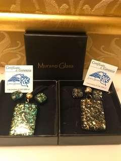 Murano glass necklace & earring set