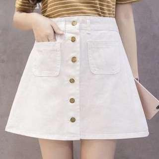 BNWT white denim skirt